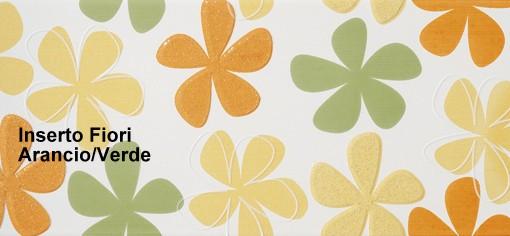 Rivestimento ceramica Fresh | Inserto Fiori Arancio Verde