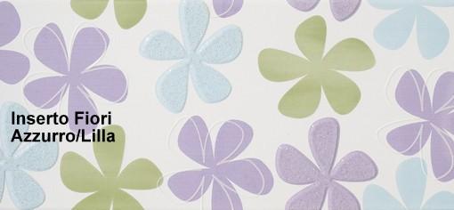 Rivestimento ceramica Fresh | Inserto Fiori Azzurro Lilla