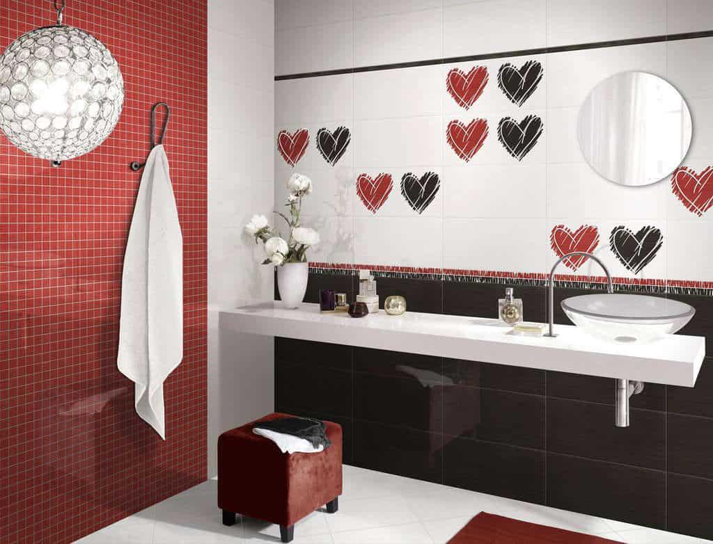 Rivestimenti interni ceramica love bianco rosso nero - Rivestimenti bagno prezzi stock ...